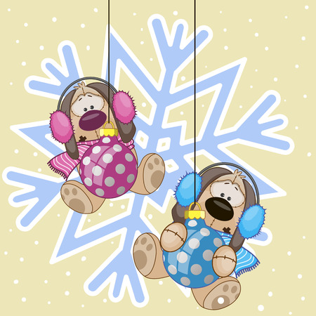 Two Dogs in a fur headphones on the background of snowflake Vector