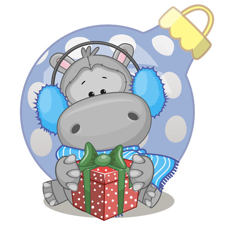 Hippo in a fur headphones with gift Иллюстрация
