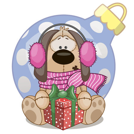 Dog in a fur headphones with gift Vector