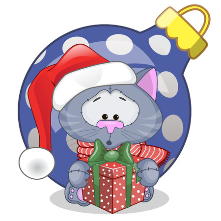 Cat in a Santa hat with gift Vector
