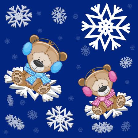 osos navideños: Dos osos de peluche en los copos de nieve
