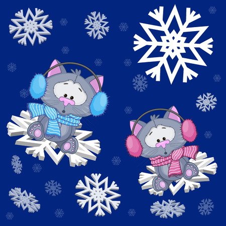 Two Cats at the snowflakes Vector