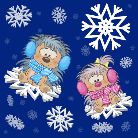 Two Hedgehogs at the snowflakes Vector