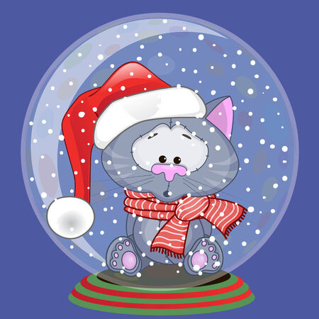 Christmas illustration of cartoon Bear in a Santas hat in a glass bowl Vector
