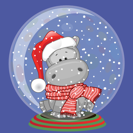 Christmas illustration of cartoon Bear in a Santas hat in a glass bowl Иллюстрация