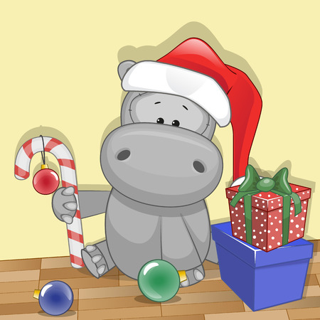 hippo cartoon: Christmas illustration of cartoon Bear in a Santas hat