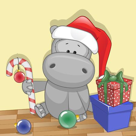 hippopotamus: Ilustración de la Navidad de la historieta del oso en el sombrero de Papá Noel