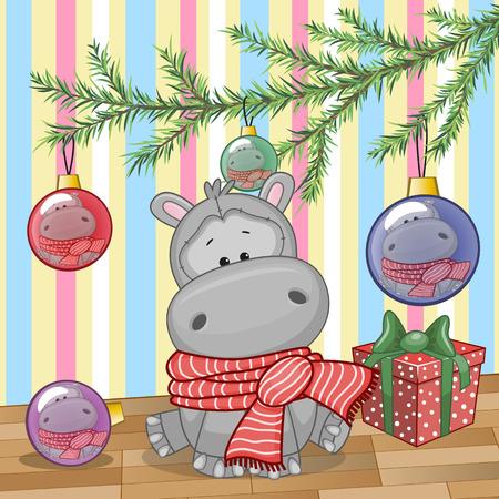hipopotamo dibujos animados: Hipopótamo lindo bajo el árbol de Navidad Vectores
