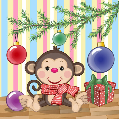 new years day: Cute Monkey under the Christmas tree