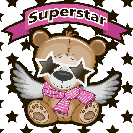 Teddy Bear with star glassesa on the background of stars