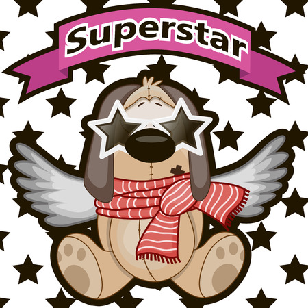 super dog: Dog with star glasses on the background of stars