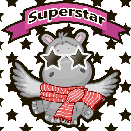 Hippo with star glasses on the background of stars