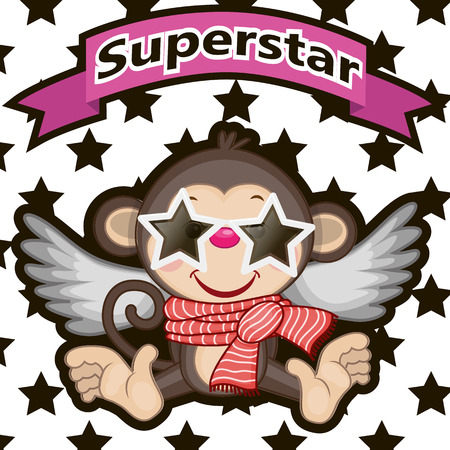 Monkey with star glasses on the background of stars
