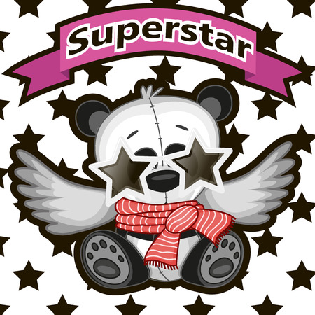 Panda with star glasses on the background of stars