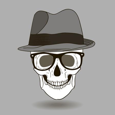 hard rock: Fashion illustration of skull man Illustration