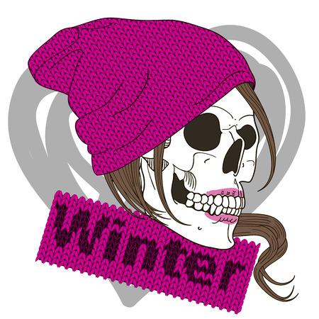 skull character: Fashion illustration of skull girl Illustration