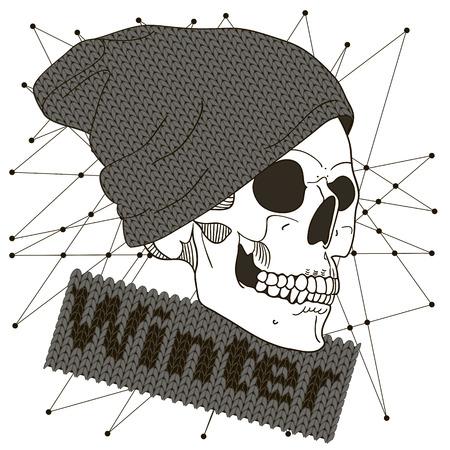 Fashion illustration of skull man Illustration