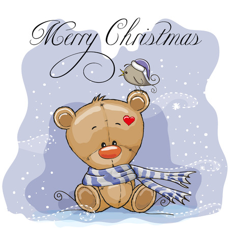 Greeting Christmas card with Teddy Bear Vector