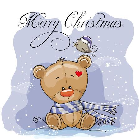 Greeting Christmas card with Teddy Bear Vector