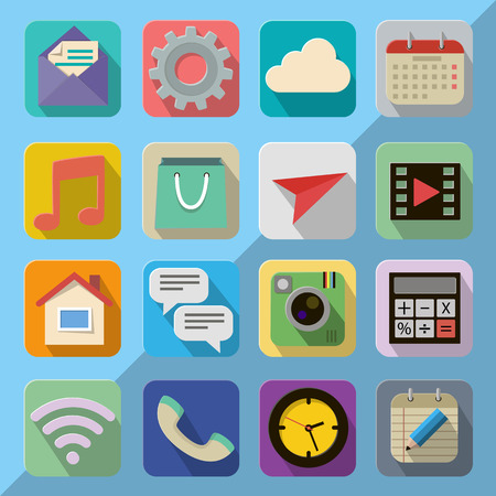 communications equipment: Flat icon set for Web and Mobile App Illustration