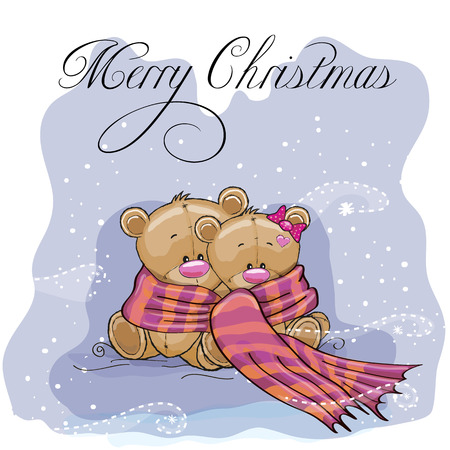 teddy bear background: Greeting Christmas card two Teddy Bears wrap up in a scarf