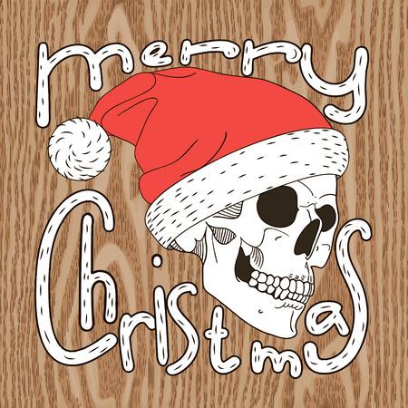 Christmas illustration of skull Santa Vector