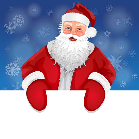 Santa with banner on a background of snowflakes Vector