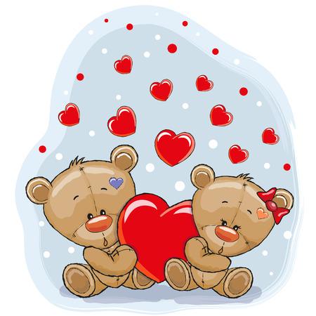 Cute Teddy Bears with heart