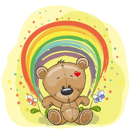 Cute Teddy Bear with rainbow Vector