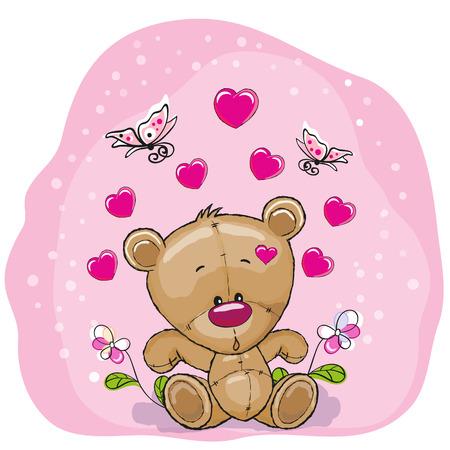 Teddy Bear con fiori e farfalle Archivio Fotografico - 34100416
