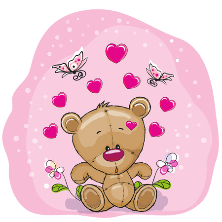 butterfly bow: Teddy Bear with flowers and butterflies