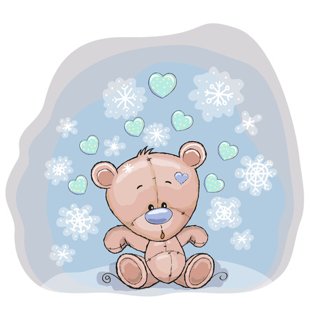 Christmas illustration of cute Teddy with snow Vector