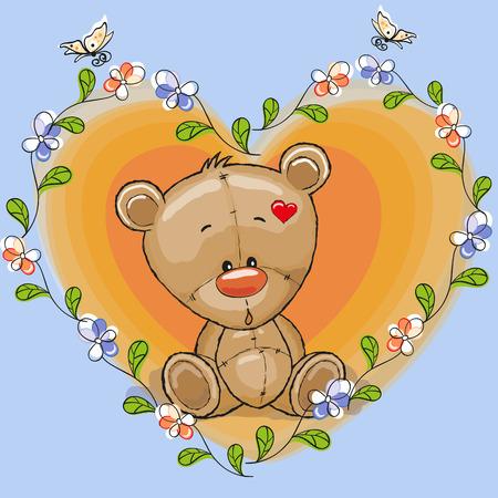 Oso de peluche con flores y mariposas Foto de archivo - 34100629