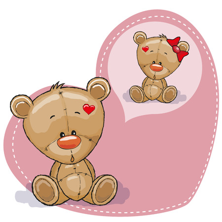 Greeting card Cute Dreaming Teddy Bear Illustration