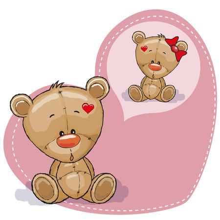 Greeting card Cute Dreaming Teddy Bear Illustration