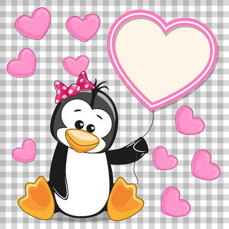 Valentine card with Penguin with heart frame Vector