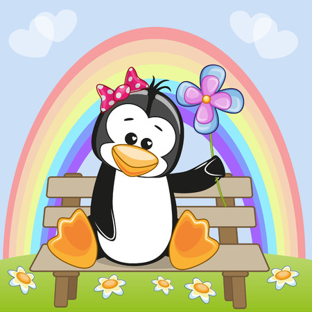 Greeting card Penguin with flower Vector