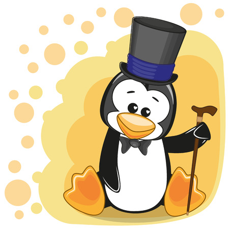 Greeting card Penguin in hat Illustration