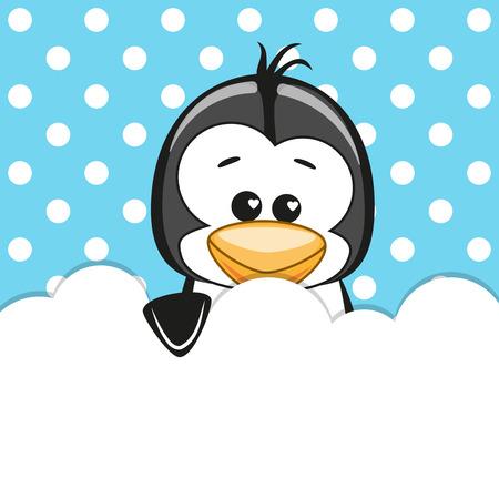 Pingüino que asoma detrás de las nubes Ilustración de vector