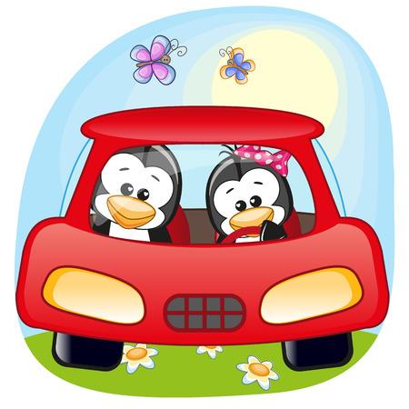 carro caricatura: Dos pingüinos está sentado en un coche