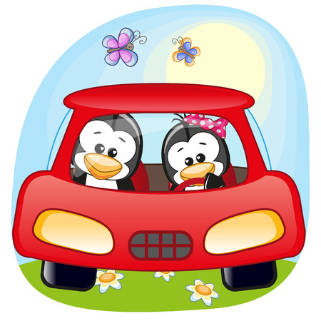 cute cartoons: Two Penguins is sitting in a car