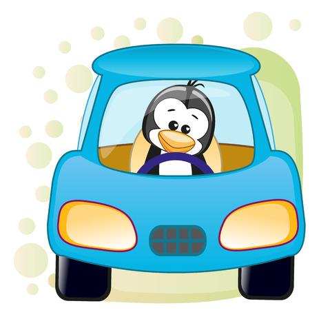 Cute Penguin is sitting in a car