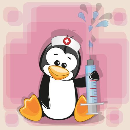 彼の手に注射器でペンギン看護師