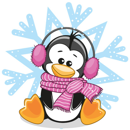 Penguin in a fur headphones on the background of snowflake Ilustração