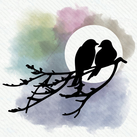 back to back couple: Two birds is sitting on a branch