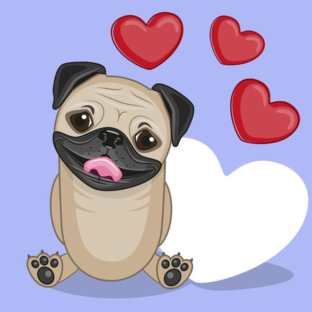 Greeting card Pug Dog with hearts
