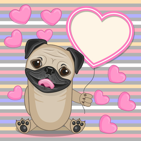 cute dogs: Valentine card with Pug Dog with heart frame