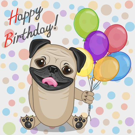 Greeting card Pug Dog with balloons