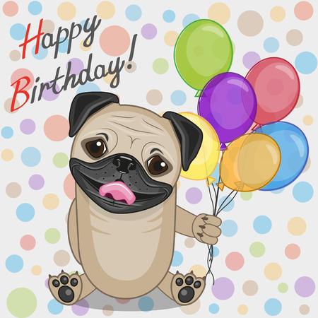 cute cartoons: Greeting card Pug Dog with balloons