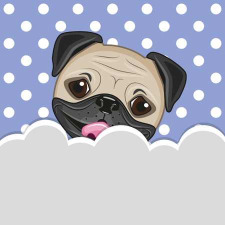 Pug Dog peeking out from behind the clouds Illustration